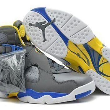 Cheap Air Jordan 8 Retro Grey Blue Yellow Men Shoes