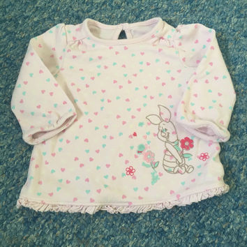 DISNEY pink floral piglet with hearts Top 6-9 Months Baby Girls Clothes