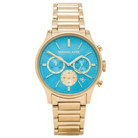 Michael Kors MK5910 Women's Bailey Mid-Size Blue Dial Gold Plated Steel Bracelet Chronograph Watch