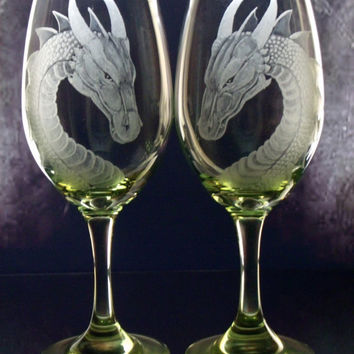 Personalized Wine Glasses Dragon Gift set of two , lime , turquoise , purple stemware Wedding , host or hostess gift for wine lovers