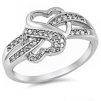 Cz Infinity Heart 925 Sterling Silver Ring Sizes 412