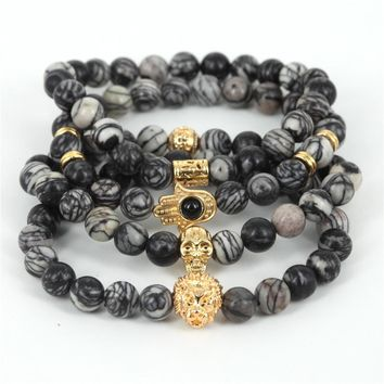 2017 Natural Stone Beads Skull Bracelet for Men Jewelry Spider Web Stone Beaded Men Bracelet Brand Pulseira Masculina Best Gift