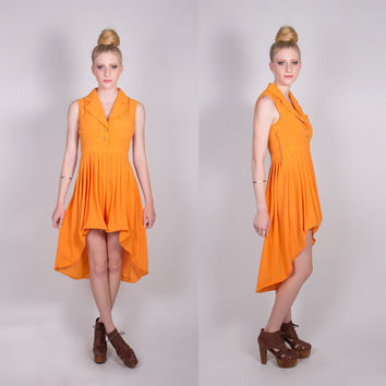 LPM Redesigned Vintage Orange Fishtail Dress by lapetitemarmoset