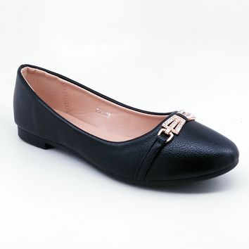 Women's Black Flats with Gold Color Bow Detail