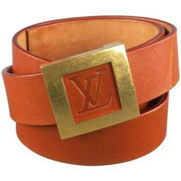 DCCKU3N LOUIS VUITTON Size 36 LV Monogram Embossed Tan Leather Gold Square Buckle Belt