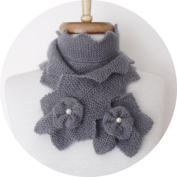 Grey Star Scarf-Winter accessories-Ready for shipping