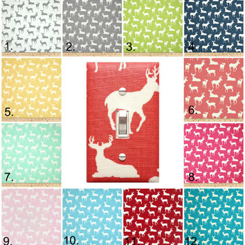 Stag Deer Light Switch Plate / TWELVE COLORS to Choose From / Baby Boy Girl Gender Neutral Nursery Decor / Premier Prints Deer Silhouette