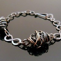 Copper Wire Cocoon Wrapped Beads with Copper Figure 8 Links