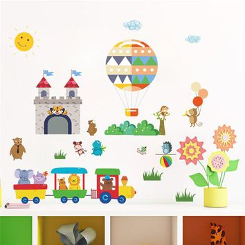 Kids Forest Animals Train Balloon Castle Wall Stickers