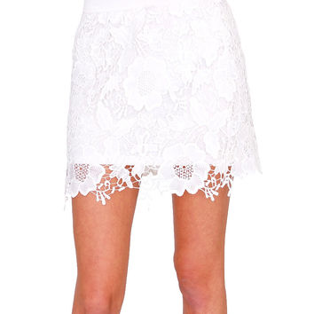 Sweet Lace Skirt White