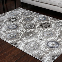 5400 Silver Medallion Transitional Area Rugs