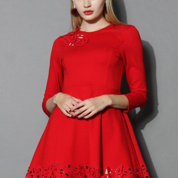 Grace Butterflies Cutout Dress in Red