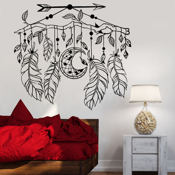 Vinyl Decal Wall Dreamcatcher Arrow Feathers Ethnic Style Branch Stickers Unique Gift (1156ig)