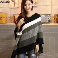 Womens Sweater Poncho Knitted Fashion Striped Pullover