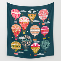 Hot Air Balloons - Retro, Vintage-inspired Print and Pattern by Andrea Lauren Wall Tapestry by Andrea Lauren Design
