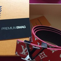 100% AUTHENTIC SUPREME X LOUIS VUITTON BELT SIZE 90 CM RED NEW DS