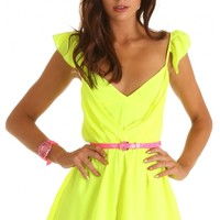 Playsuits > LOVE TO FRILL PLAYSUIT IN NEON