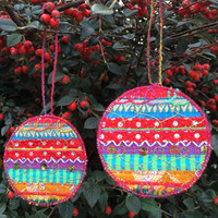 Fully illustrated tutorial for machine embroidery Christmas bauble decoration greetings cards