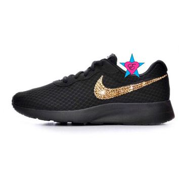 Black Sole Gold Crystal Sneakers Bling Nike Tanjun Shoes b32642f6d
