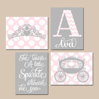 PINK GRAY Nursery Wall Art, Baby Girl PRINCESS Artwork, She Leaves Sparkle, Crown Carriage, Above Crib Decor, Canvas or Prints, Set of 4