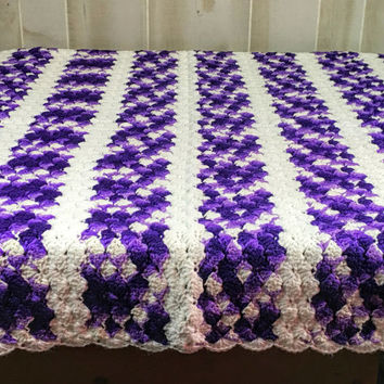 Vintage Handmade  Purple and White Crochet Afghan/Throw/Blanket
