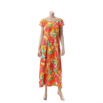 Vintage 60s Rainbow Floral Kiyomi Hawaiian Dress 1960s Iolani Hawaii Tropical Boho Hippie Polynesian Tiki Party Luau Maxi Dress