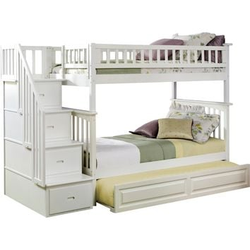 Columbia Staircase Bunk Bed Twin Over Twin Raised Panel Trundle Bed White Finish