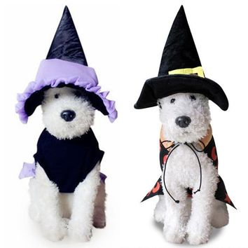 New Halloween Witch Cosplay Pet Costume Dog Cat Fancy Dress Dogs Clothes Puppy Coat Cap and Cloak