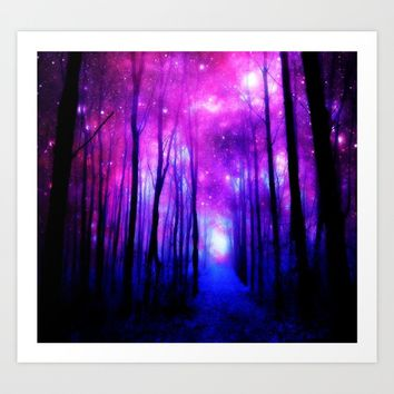 Magical Forest Path Fuchsia Purple Blue Art Print by WhimsyRomance&Fun