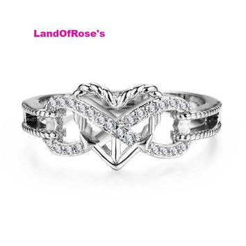 Hollow Infinity & Heart Design Rings For Women 925 Sterling Silver Filled Crystal Zircon Ring
