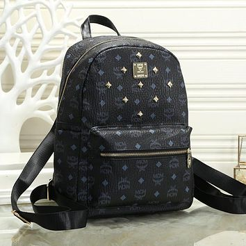 MCM Women Fashion Leather Backpack Daypack Bookbag