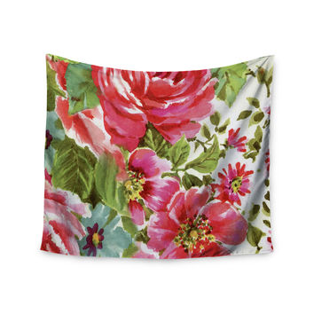 "Heidi Jennings ""Walk Through The Garden"" Pink Flowers Wall Tapestry"