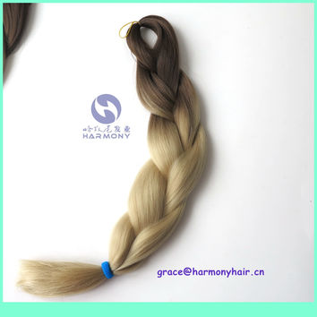 """(1pack/lot) 24"""" 100g synthetic blonde ombre jumbo braiding hair 4# brown+24# blonde color to make box braiding hair extensions"""
