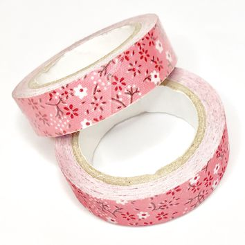 Pink floral 15mm fabric washi tape / 3.5M
