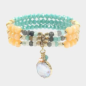 Mother Of Pearl Accented Beaded Stretch Bracelet