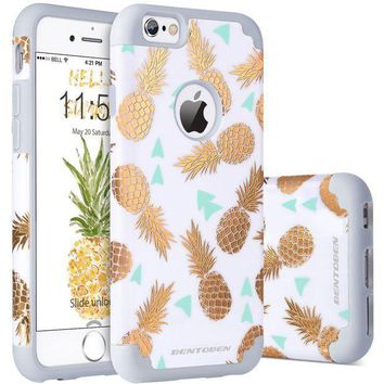 CREYRQ5 iPhone 6s Case, iPhone 6 Case Pineapple, BENTOBEN Ultra Slim Gold Pineapple Design Hard PC Soft Rubber Glossy Anti-Scratch Shock Proof Protective Case Cover for iPhone 6 6s 4.7', White/Gold