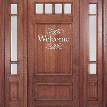 "Welcome Door Decal with 2 scrolls-14""h x 21""w-Vinyl Lettering Decal-Wall Words Decal-Front Entry Decal-Home Decor-Graphic Art Decal"