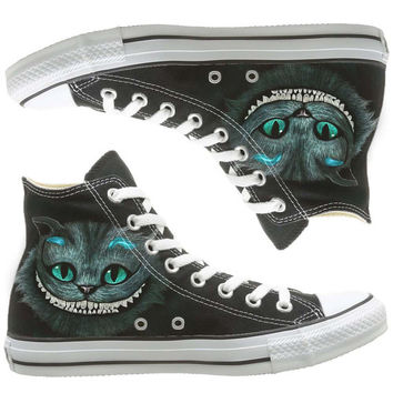 Cheshire cat painted shoes, custom shoes by natalshoes