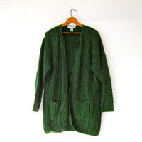 vintage long cardigan sweater. green sweater coat. pocket sweater jacket. minimalist sweater.