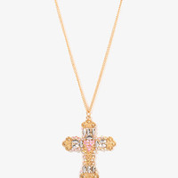 Iridescent Rhinestoned Cross Necklace | FOREVER 21 - 1025100528