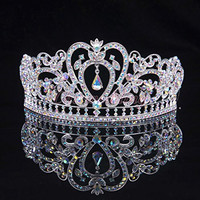 "Sunshinesmile Colorful Clear Austrian Rhinestone Crystal Tiara Crown, 6"" Diameter"