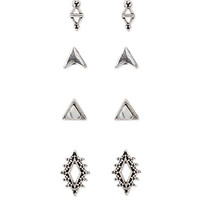 Faux Stone Filigree Stud Set