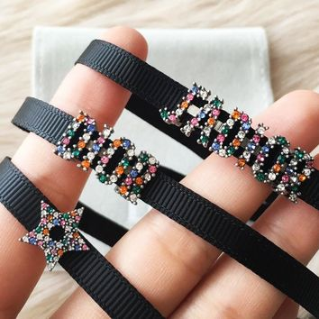 Dior Stylish Women Colorful Diamond Letter Weave Choker Necklace Jewelry Accessories
