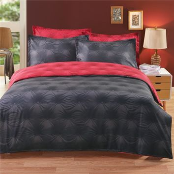 3D Buttons Side Black Red Duvet Cover Bedding Set
