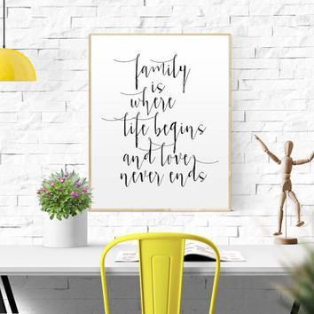 FAMILY QUOTE Family Is Where Life Begins And Love Never Ends Print home wall print wedding print wall collage print family quote prin office