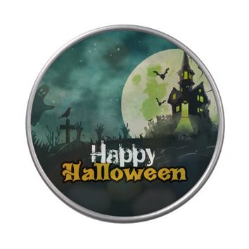 Spooky Haunted House Costume Night Sky Halloween Jelly Belly Tin