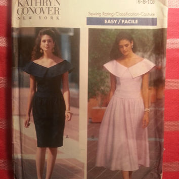Uncut 1990 Butterick Sewing Pattern, 4681! 6-8-10 Small/Medium/Women's/Misses/Designer Fashion Kathryn Conover/Petite Dress/Dropped Waist