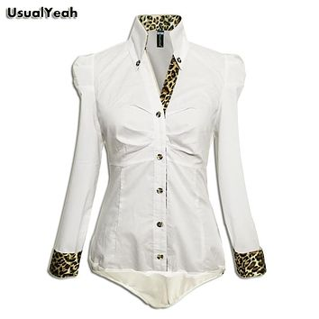 UsualYeah New 2017 Women Fashion Casual OL Long Sleeve Button Body Shirt Blouse Leopard & Plaid Collar Bluas White S-XL SY0073