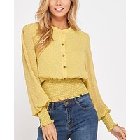 swiss dot button down sheer sleeved blouse with smocked waist - yellow lime