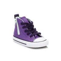 Converse Infant Allium Purple All Star Hi Side Zip Trainers